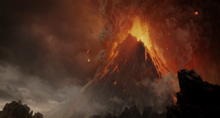 Mount Doom blowing up with the ring