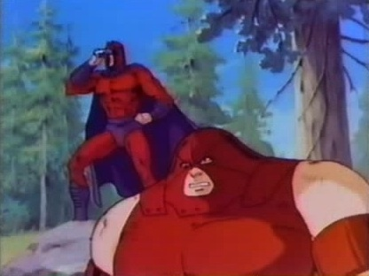 Magneto watched on a monitor while cyclops blasted his way through the