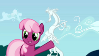 Cheerilee pointing to Discord statue S02E01