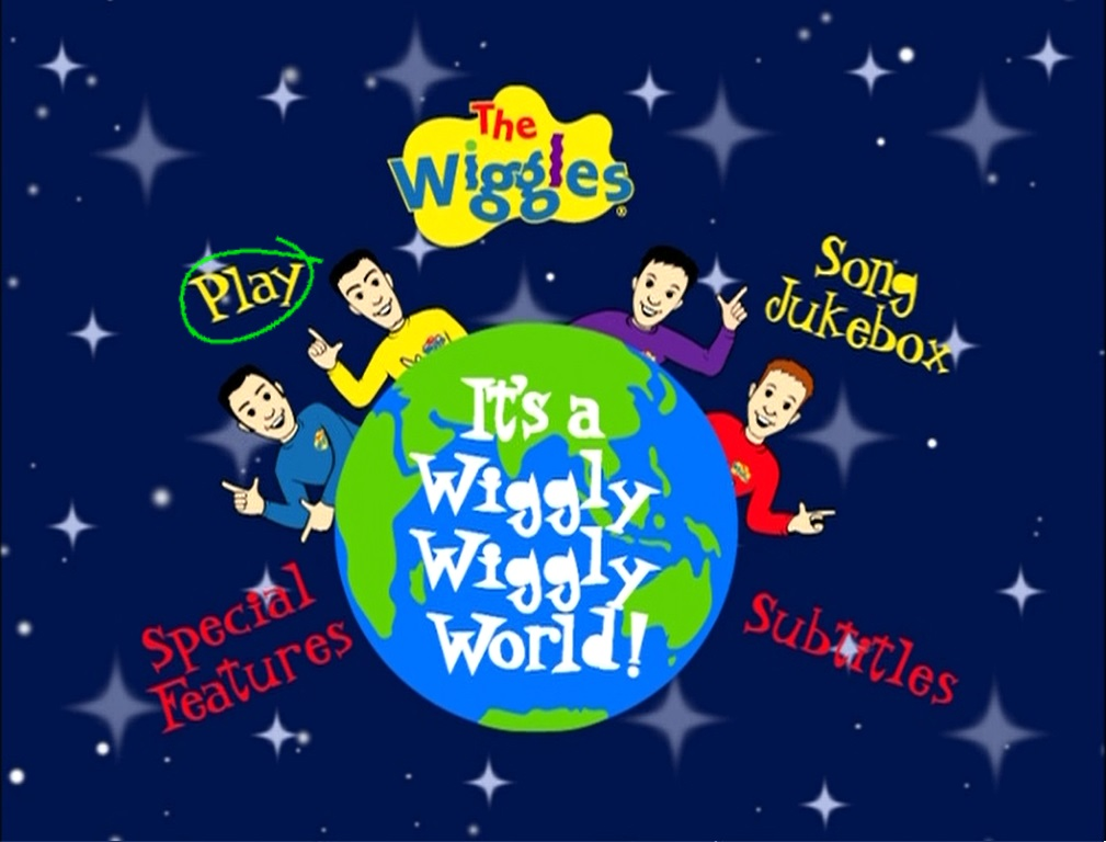 This is the DVD Menu of  quot It s a Wiggly  Wiggly World quot  The Wiggles Wiggly Wiggly World Vhs