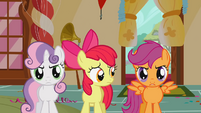 Sweetie Belle and Scootaloo standing up for Apple Bloom S1E12