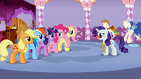 Speechless Rarity listening to 5 main ponies S01E14