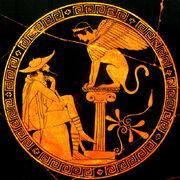 Oedipe et le sphinx. Vers 460 avant J.C, musée du Vatican.