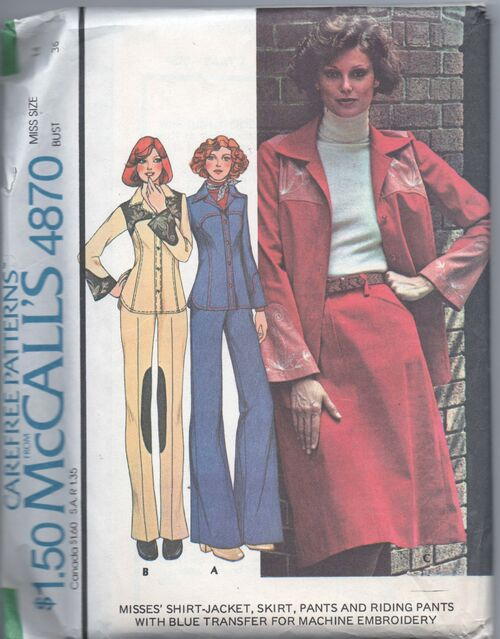1970s riding jacket-shirt, pants, and skirt pattern - McCall's 4870