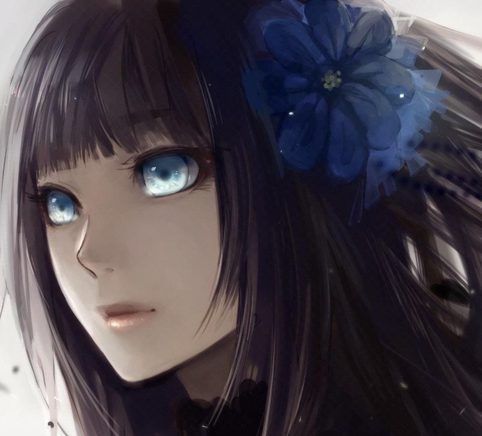 Anime girl with black hair and blue eyes tumblr